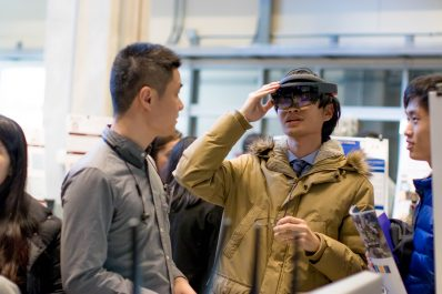 Hopkins graduate students try out virtual reality headset
