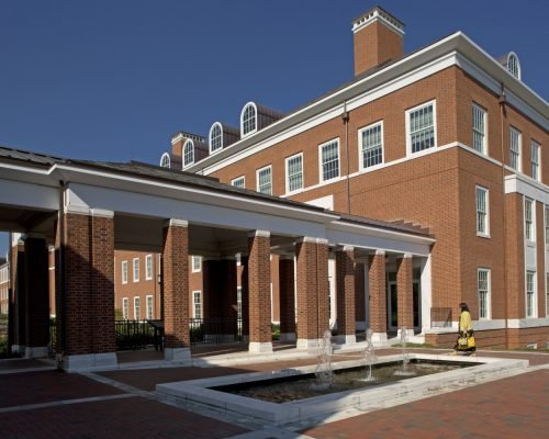 Malone Hall with fountain