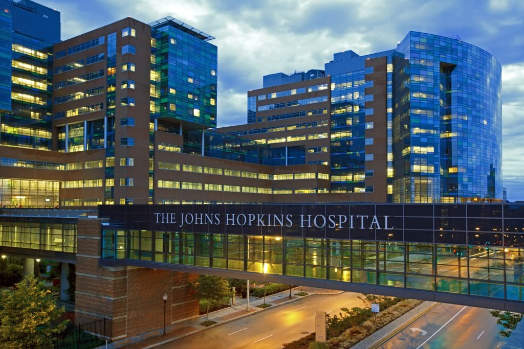 The Johns Hopkins Hospital at dusk